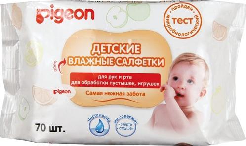Влажные салфетки детские PIGEON для рук и рта, пустышек, игрушек