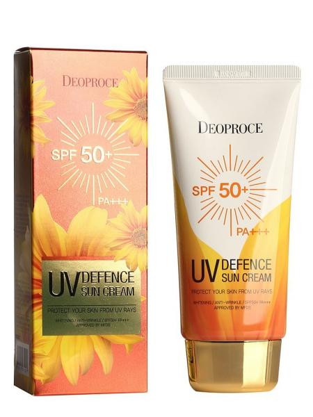 Легкий увлажняющий солнцезащитный крем для лица SPF50+ PA+++DEOPROCE UV Defence Sun Cream SPF 50++ PA++ 70гр