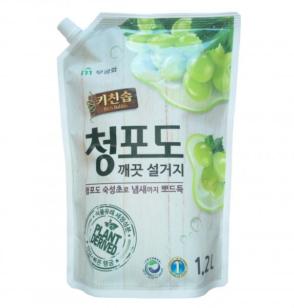 Премиальное дезодорирующее средство для мытья посуды, овощей и фруктов в холодной воде MUKUNGHWA Зеленый виноград МУ 1,2 л