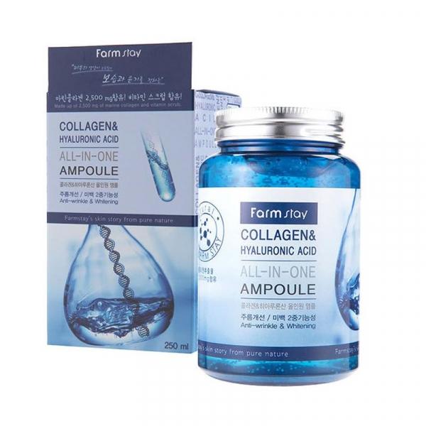 FARMSTAY Collagen & Hyaluronic Acid All-In-One Ampoule Многофункциональная ампульная сыворотка с коллагеном и гиалуроновой кислотой 250 мл