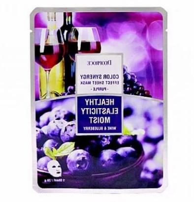 Маска тканевая на основе черники и красного винограда DEOPROCE COLOR SYNERGY EFFECT SHEET MASK PURPLE 20 гр