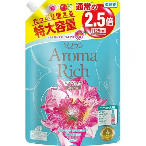 LION Aroma Rich Кондиционер для белья Sofia с женственным цветочным ароматом мягкая уп 1125 мл
