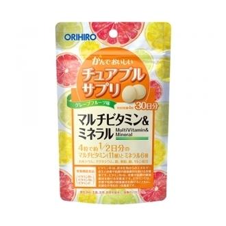 ORIHIRO Жевательные мультивитамины и минералы со вкусом грейпфрута № 120