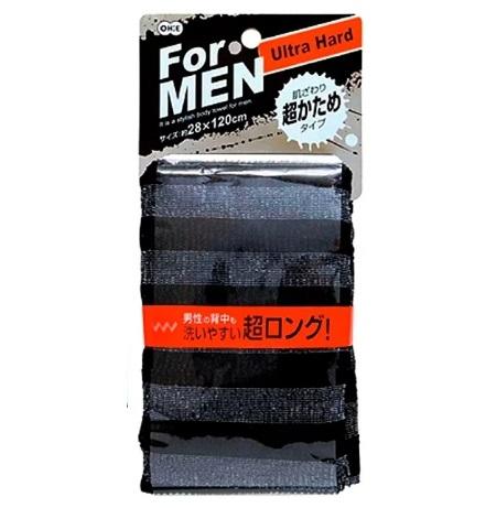 Массажная мочалка OHE MEN S сверхжесткая, удлиненная, черная в полоску, 28х120 см, нейлон 80%, полиэстер 20%