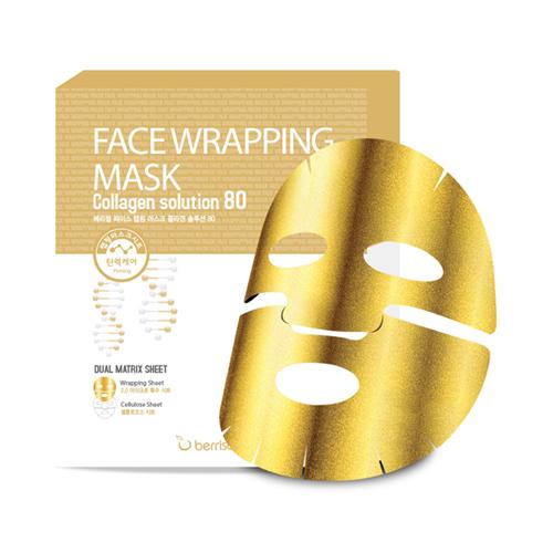 Маска тканевая укрепляющая двухслойная с коллагеном Berrisom Face Wrapping Mask Collagen Solution 80