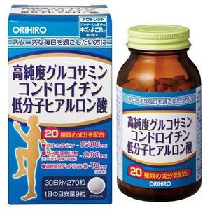 NEW! Orihiro Глюкозамин высокой степени очистки,хондроитин и низкомолекулярная гиалуроновая кислота № 270