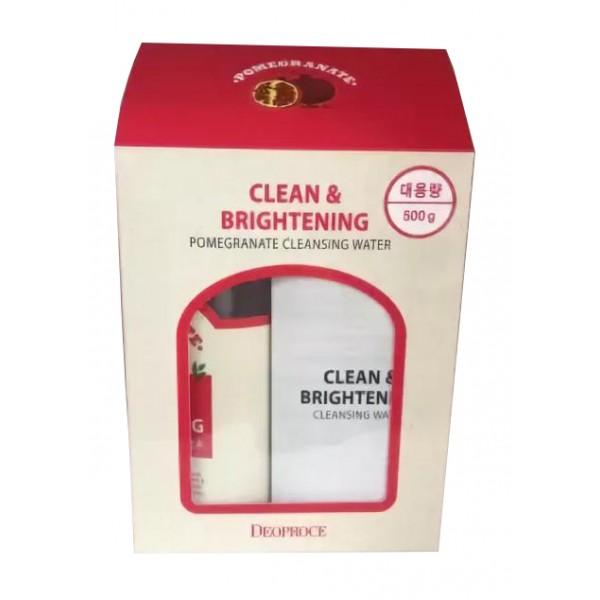Вода очищающая с экстрактом граната DEOPROCE Clean & Brightening Pomegranate Cleansing Water 500 гр