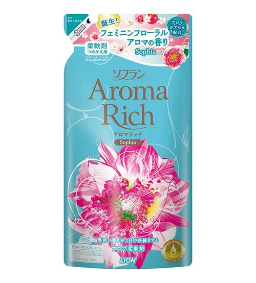 LION Aroma Rich Кондиционер для белья Sofia с женственным цветочным ароматом, запасной блок 450 мл