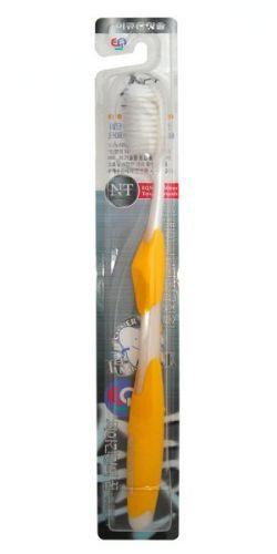Nano Silver Toothbrush / Зубная щетка c наночастицами серебра, сверхтонкой двойной щетиной, средней жесткости, стандартная чистящая головка, изогнутая ручка