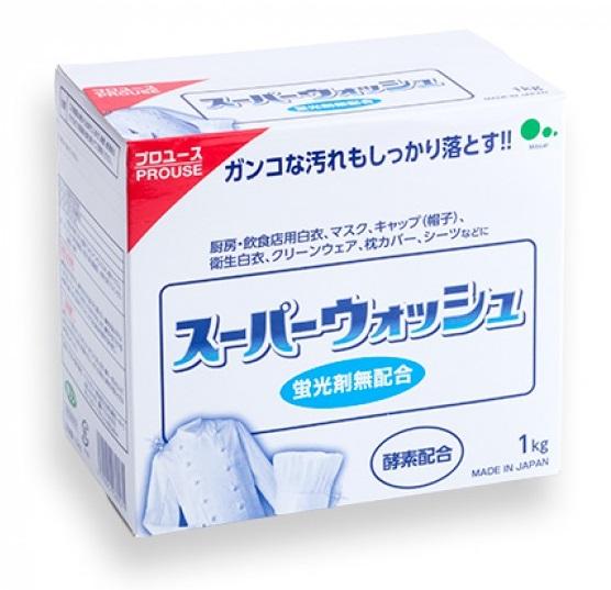 Мощный стиральный порошок Mitsuei Super Wash с ферментами для стирки белого белья 1 кг 1/10