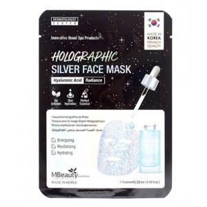 Голографическая серебряная маска для лица с гиалуроновой кислотой MBeauty Holographic Silver Hyaluronic Acid Face Mask 23 мл