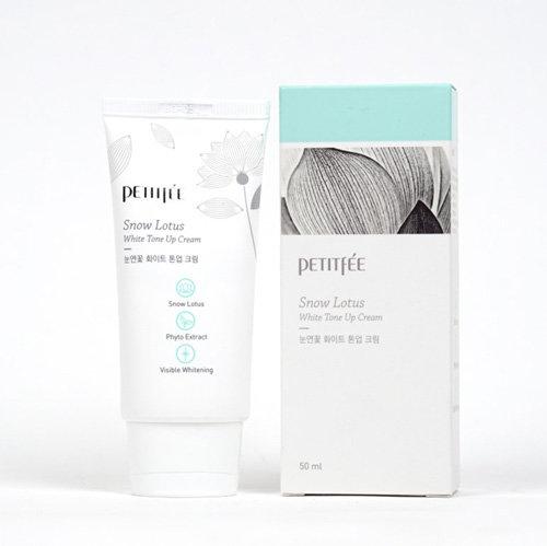Оcветляющий крем для лица с экстрактом лотоса Petitfee Snow Lotus White Tone Up Cream 50 мл