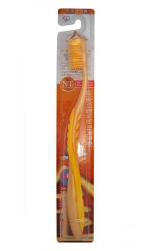 Nano Gold Toothbrush / Зубная щетка c наночастицами золота, сверхтонкой двойной щетиной, средней жесткости, стандартная чистящая головка, изогнутая ручка