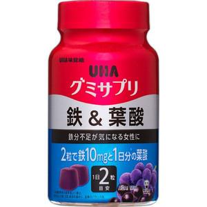 UHA Gummy Supple Жевательные витамины железо и фолиевая кислота с коллагеном со вкусом ягод асаи и винограда № 60