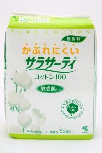 Kobayashi Pure Cotton Ежедневные гигиенические прокладки 100% хлопок