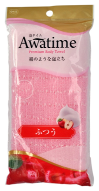 Мочалка для создания большого количества пены OHE Awatime средней жесткости 100 см (розовая) 1/180