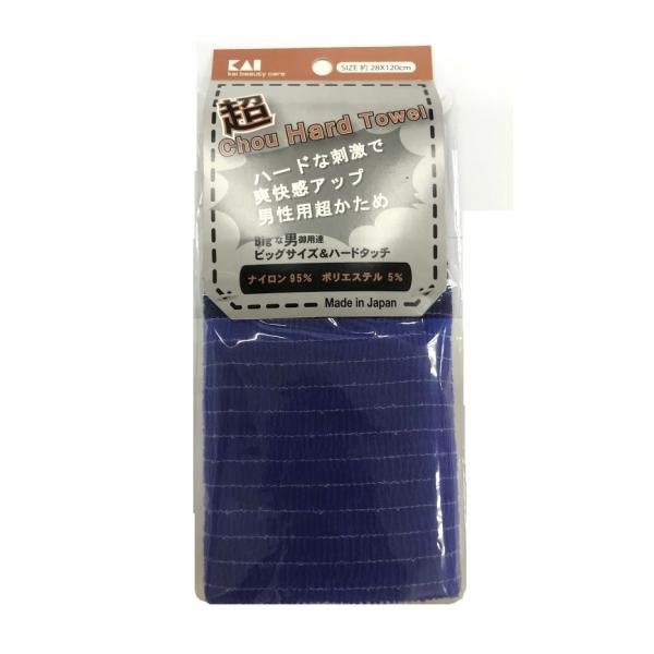 KAI Мочалка для мужчин (с плотным плетением жесткая) 28*120см (темно-синяя)