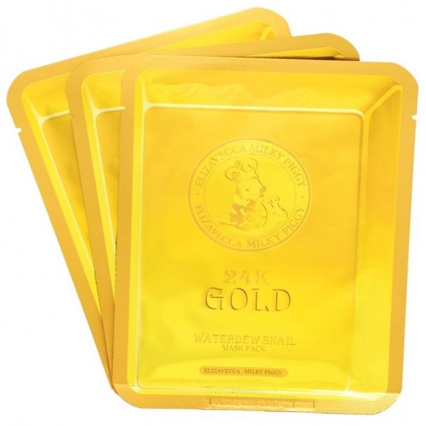 Маска для лица улиточная ELIZAVECCA 24k Gold Water Dew Snail 25гр