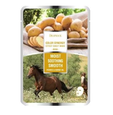 Маска тканевая с конским жиром и экстрактом картофеля DEOPROCE COLOR SYNERGY EFFECT SHEET MASK BEIGE 20 гр