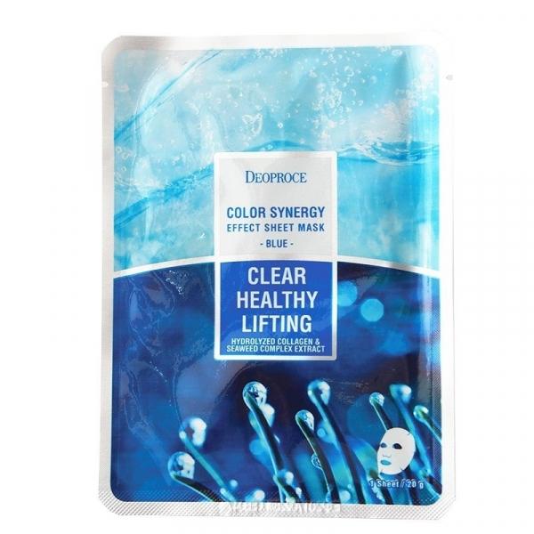 Маска тканевая морской коллаген DEOPROCE COLOR SYNERGY EFFECT SHEET MASK BLUE 20 гр