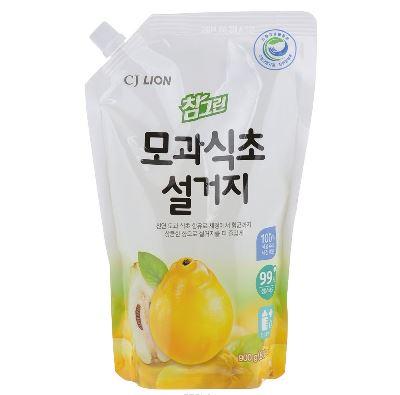 Средство для мытья посуды, фруктов, овощей cj lion chamgreen - айва, мягкая упаковка, 900гр