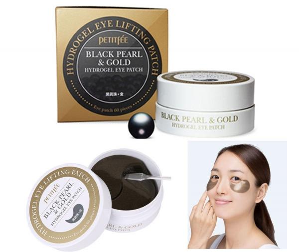 Гидрогелевые патчи для глаз с пудрой черного жемчуга и золотом Black Pearl & Gold Hydrogel Eye Patch Petitfee
