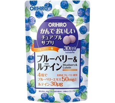 ORIHIRO Черника и лютеин жевательные витамины для глаз со вкусом черники № 120