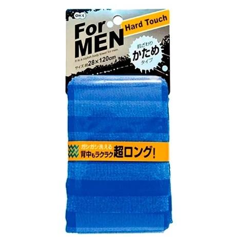 Массажная мочалка OHE MENS жесткая, удлиненная, синяя в полоску, 28х120 см, нейлон 80%, полиэстер 20%